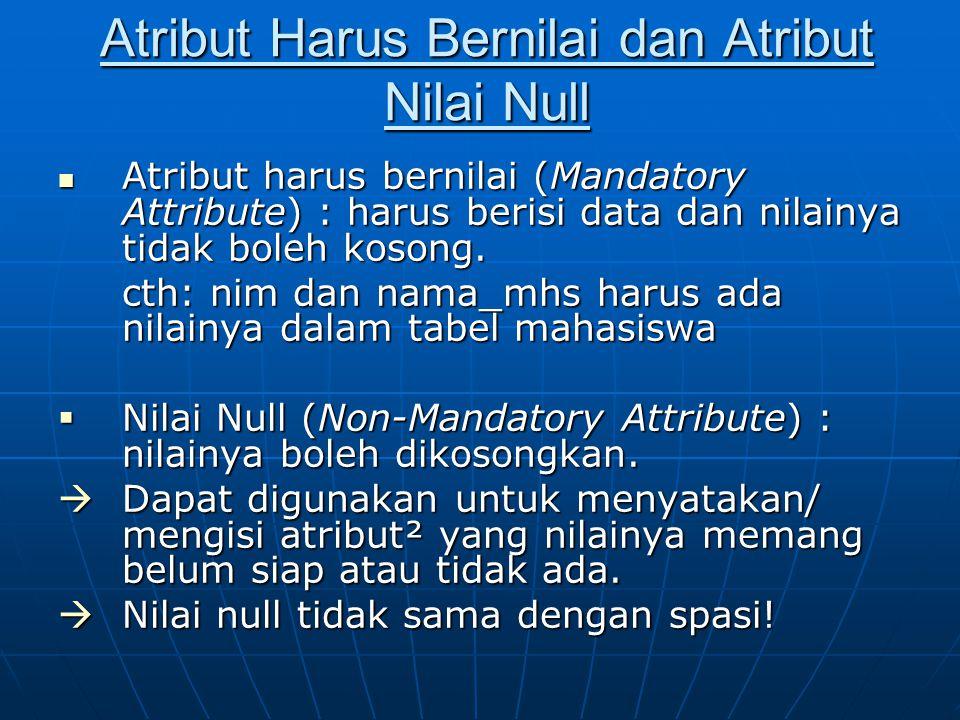 Atribut Harus Bernilai dan Atribut Nilai Null Atribut harus bernilai (Mandatory Attribute) : harus berisi data dan nilainya tidak boleh kosong. Atribu