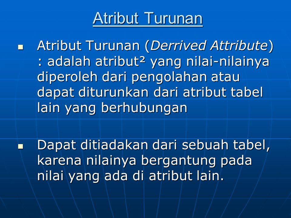 Atribut Turunan Atribut Turunan (Derrived Attribute) : adalah atribut² yang nilai-nilainya diperoleh dari pengolahan atau dapat diturunkan dari atribut tabel lain yang berhubungan Atribut Turunan (Derrived Attribute) : adalah atribut² yang nilai-nilainya diperoleh dari pengolahan atau dapat diturunkan dari atribut tabel lain yang berhubungan Dapat ditiadakan dari sebuah tabel, karena nilainya bergantung pada nilai yang ada di atribut lain.