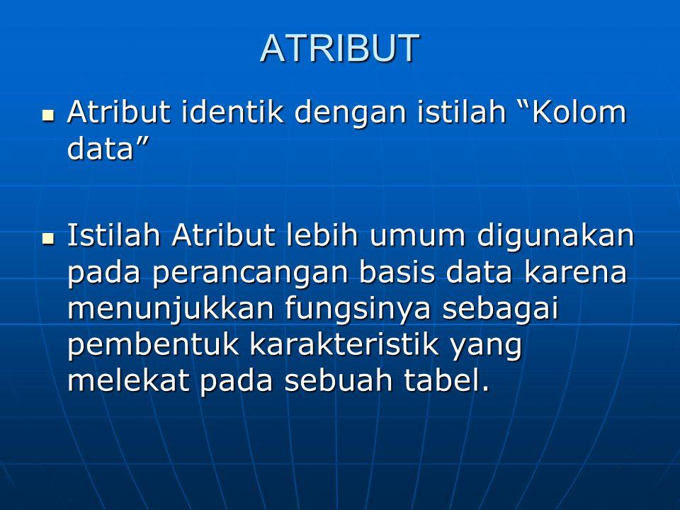 ATRIBUT Atribut identik dengan istilah Kolom data Atribut identik dengan istilah Kolom data Istilah Atribut lebih umum digunakan pada perancangan basis data karena menunjukkan fungsinya sebagai pembentuk karakteristik yang melekat pada sebuah tabel.