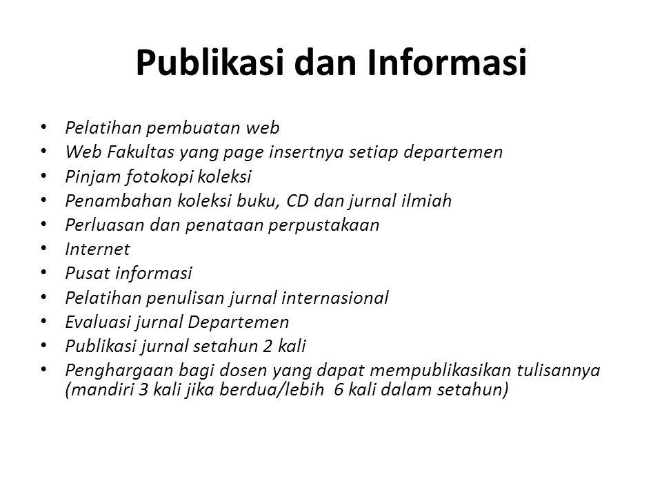 Publikasi dan Informasi Pelatihan pembuatan web Web Fakultas yang page insertnya setiap departemen Pinjam fotokopi koleksi Penambahan koleksi buku, CD