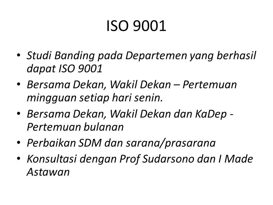 ISO 9001 Studi Banding pada Departemen yang berhasil dapat ISO 9001 Bersama Dekan, Wakil Dekan – Pertemuan mingguan setiap hari senin. Bersama Dekan,