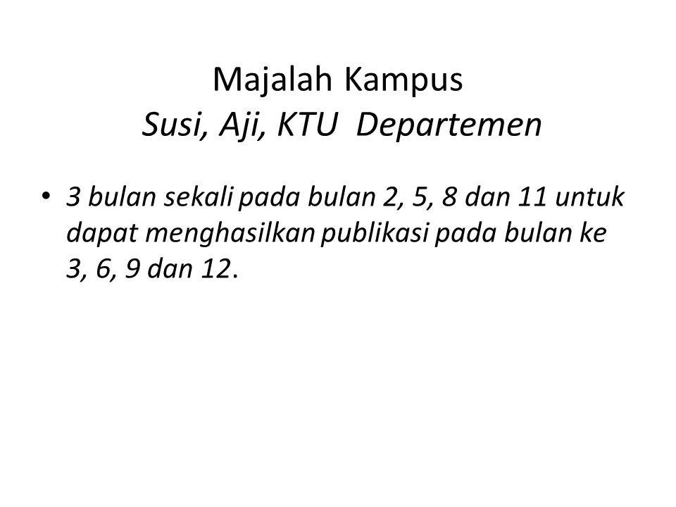 Majalah Kampus Susi, Aji, KTU Departemen 3 bulan sekali pada bulan 2, 5, 8 dan 11 untuk dapat menghasilkan publikasi pada bulan ke 3, 6, 9 dan 12.