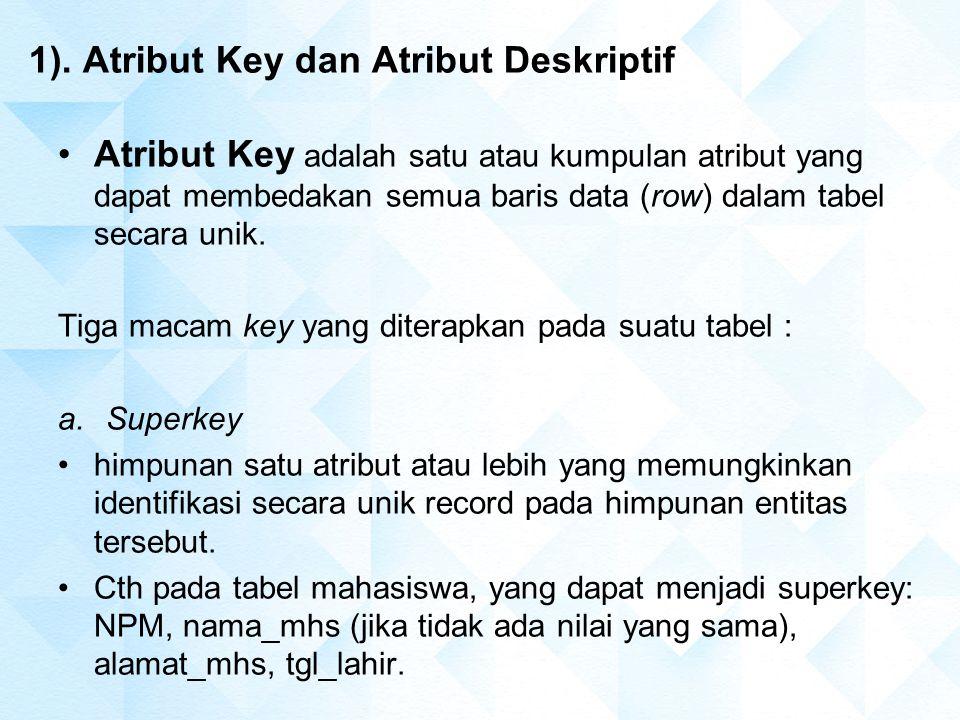 1). Atribut Key dan Atribut Deskriptif Atribut Key adalah satu atau kumpulan atribut yang dapat membedakan semua baris data (row) dalam tabel secara u
