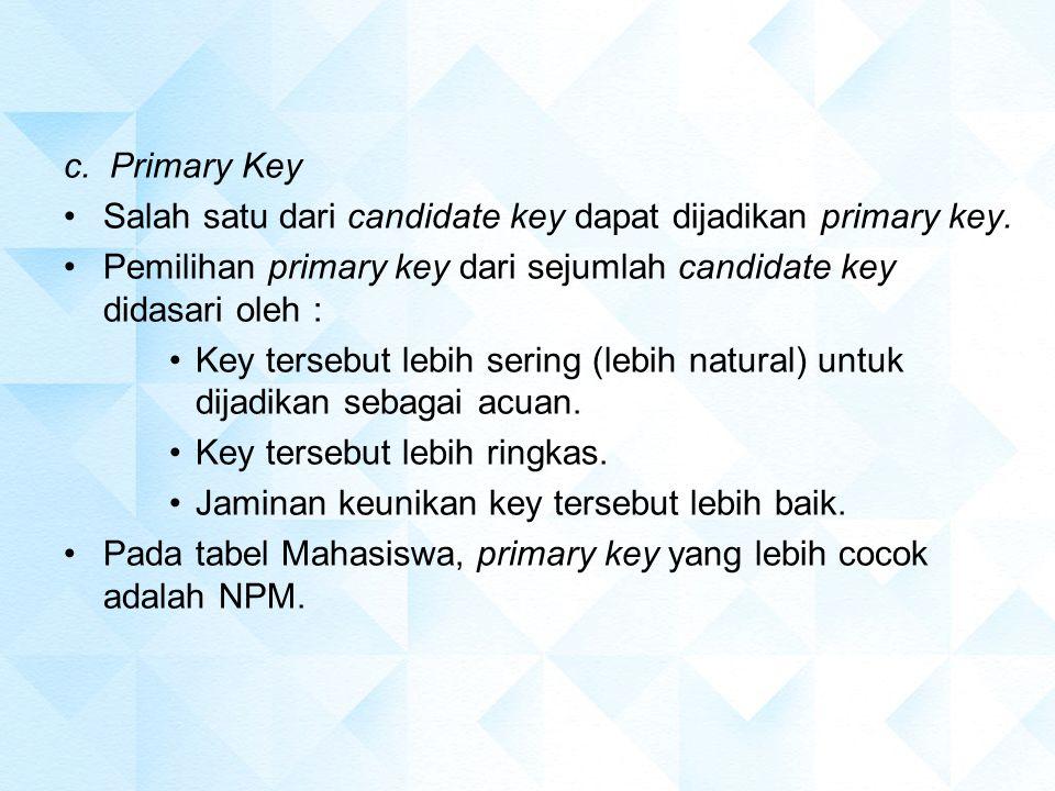 c. Primary Key Salah satu dari candidate key dapat dijadikan primary key. Pemilihan primary key dari sejumlah candidate key didasari oleh : Key terseb