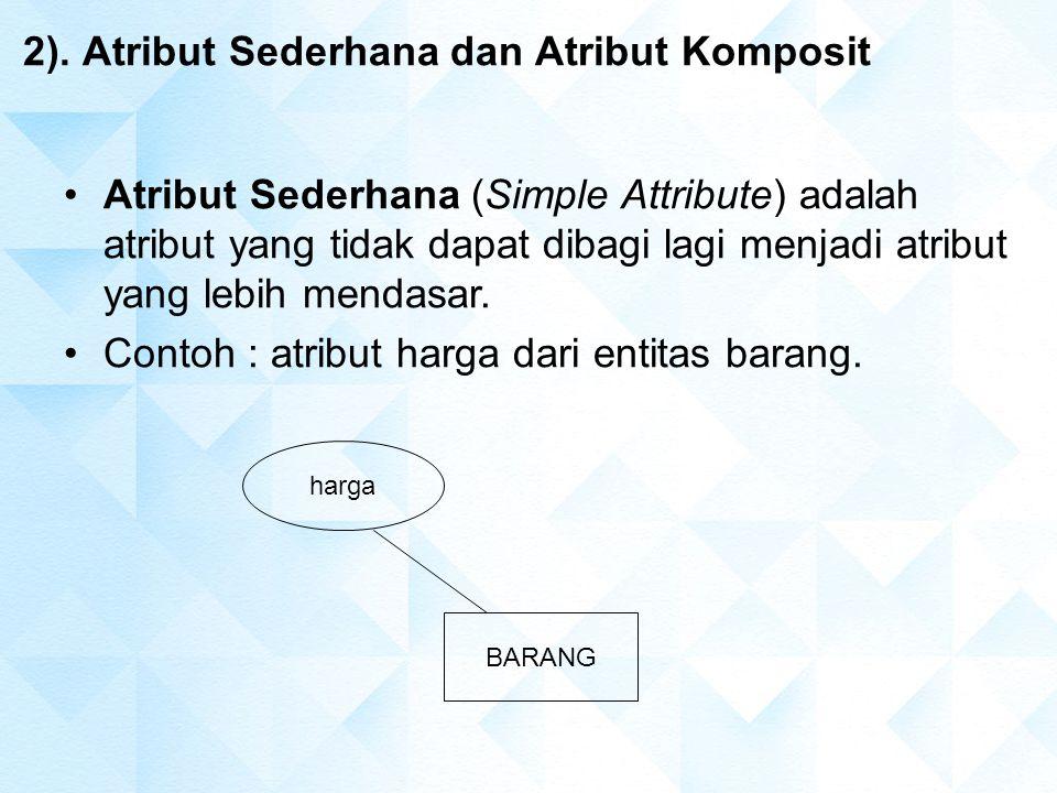 2). Atribut Sederhana dan Atribut Komposit BARANG harga Atribut Sederhana (Simple Attribute) adalah atribut yang tidak dapat dibagi lagi menjadi atrib