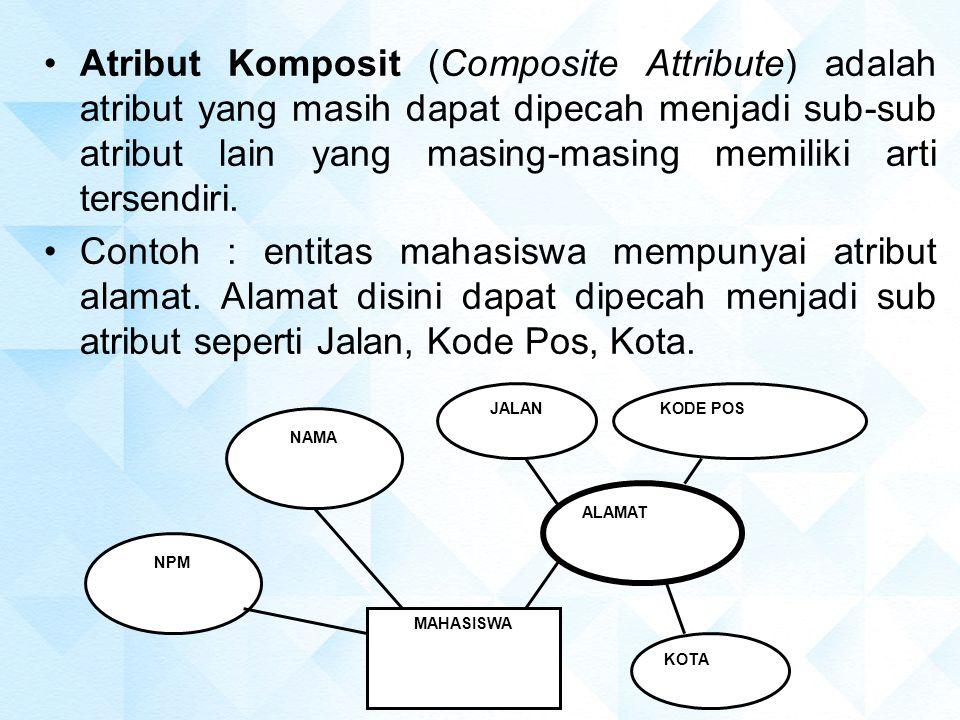 Atribut Komposit (Composite Attribute) adalah atribut yang masih dapat dipecah menjadi sub-sub atribut lain yang masing-masing memiliki arti tersendir