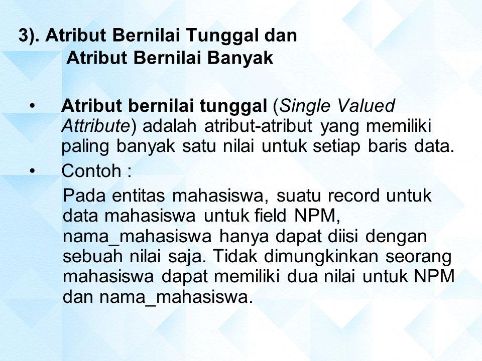 3). Atribut Bernilai Tunggal dan Atribut Bernilai Banyak Atribut bernilai tunggal (Single Valued Attribute) adalah atribut-atribut yang memiliki palin