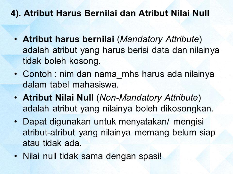 4). Atribut Harus Bernilai dan Atribut Nilai Null Atribut harus bernilai (Mandatory Attribute) adalah atribut yang harus berisi data dan nilainya tida