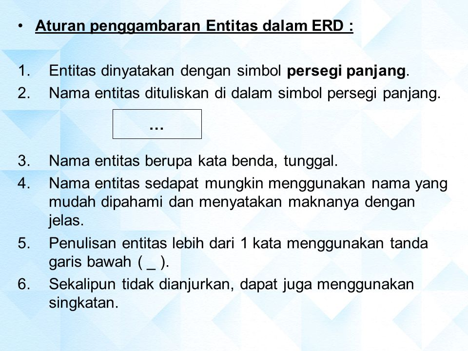 Aturan penggambaran Entitas dalam ERD : 1.Entitas dinyatakan dengan simbol persegi panjang. 2.Nama entitas dituliskan di dalam simbol persegi panjang.