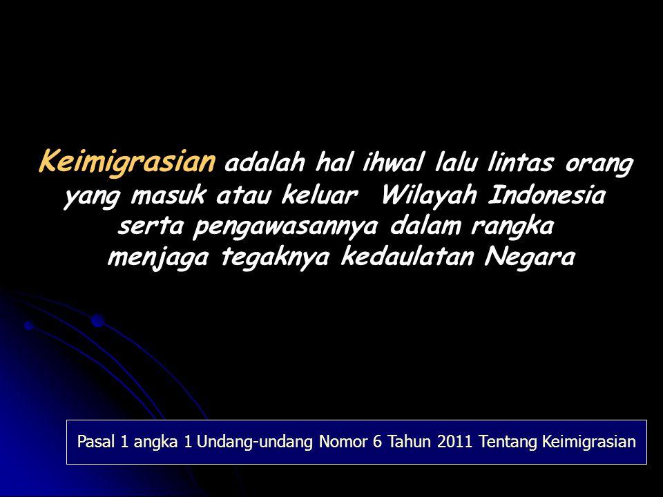 Pelayanan Keimigrasian Penegakan Hukum Keamanan Negara Fasilitator Pembangunan Kesejahteraan Masyarakat FUNGSI IMIGRASI Pasal 1 angka 2 Undang-undang Nomor 6 Tahun 2011 Tentang Keimigrasian