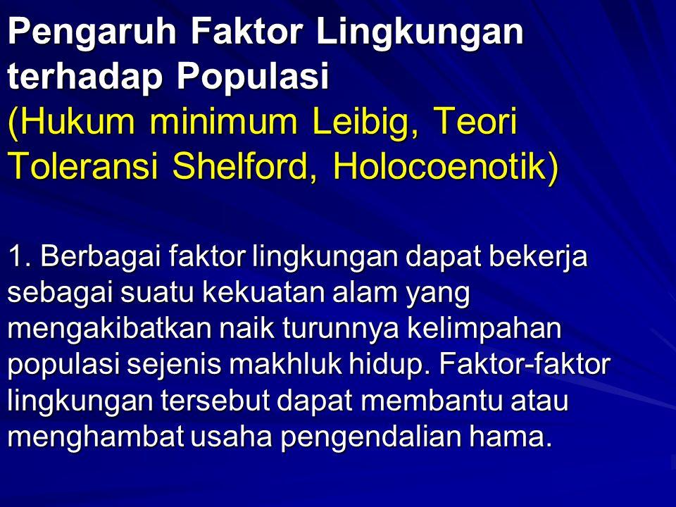 Pengaruh Faktor Lingkungan terhadap Populasi (Hukum minimum Leibig, Teori Toleransi Shelford, Holocoenotik) 1.