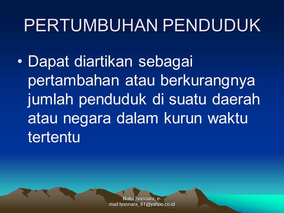 Naka Tyasnara, e- mail:tyasnara_61@yahoo.co.id PERTUMBUHAN PENDUDUK Dapat diartikan sebagai pertambahan atau berkurangnya jumlah penduduk di suatu dae