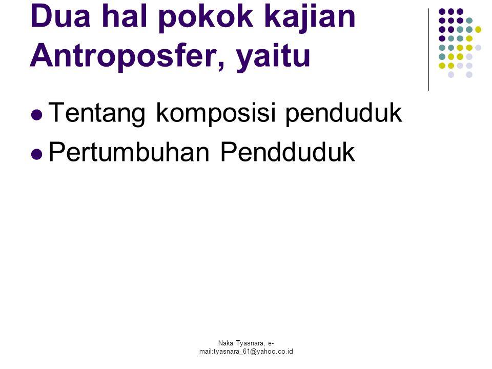 Naka Tyasnara, e- mail:tyasnara_61@yahoo.co.id Dua hal pokok kajian Antroposfer, yaitu Tentang komposisi penduduk Pertumbuhan Pendduduk