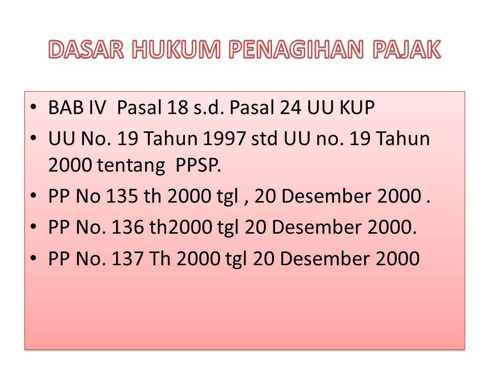 BAB IV Pasal 18 s.d. Pasal 24 UU KUP UU No. 19 Tahun 1997 std UU no. 19 Tahun 2000 tentang PPSP. PP No 135 th 2000 tgl, 20 Desember 2000. PP No. 136 t