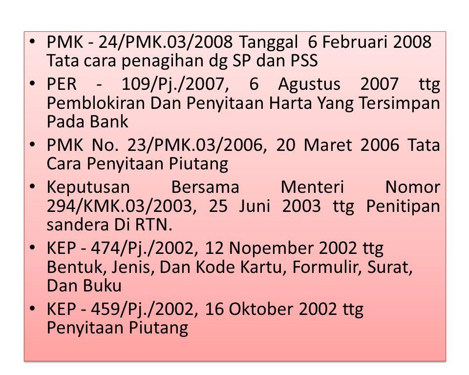 PMK - 24/PMK.03/2008 Tanggal 6 Februari 2008 Tata cara penagihan dg SP dan PSS PER - 109/Pj./2007, 6 Agustus 2007 ttg Pemblokiran Dan Penyitaan Harta