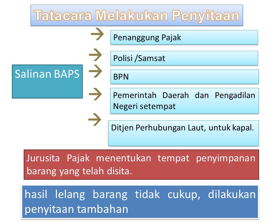 Salinan BAPS Ditjen Perhubungan Laut, untuk kapal. Penanggung Pajak Polisi /Samsat BPN Pemerintah Daerah dan Pengadilan Negeri setempat Jurusita Pajak