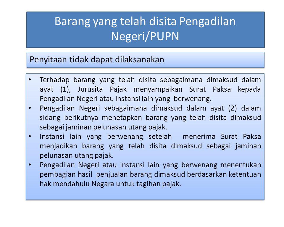 Barang yang telah disita Pengadilan Negeri/PUPN Penyitaan tidak dapat dilaksanakan Terhadap barang yang telah disita sebagaimana dimaksud dalam ayat (