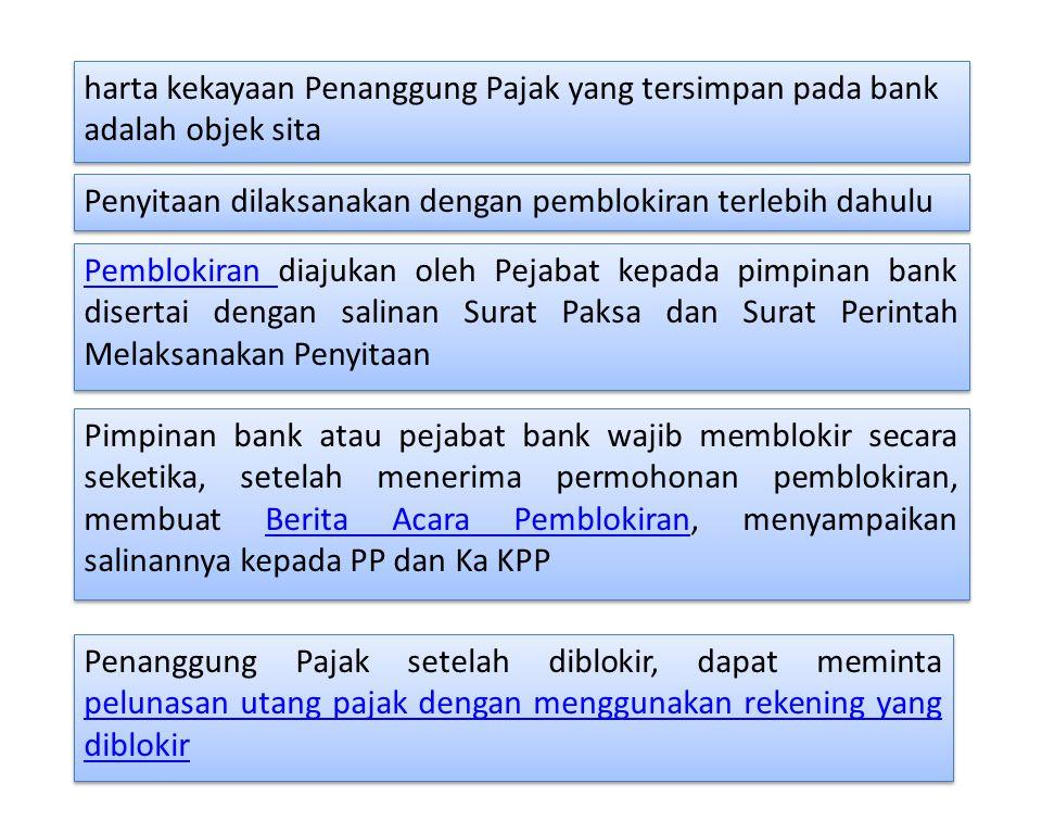 harta kekayaan Penanggung Pajak yang tersimpan pada bank adalah objek sita Penyitaan dilaksanakan dengan pemblokiran terlebih dahulu Pemblokiran Pembl