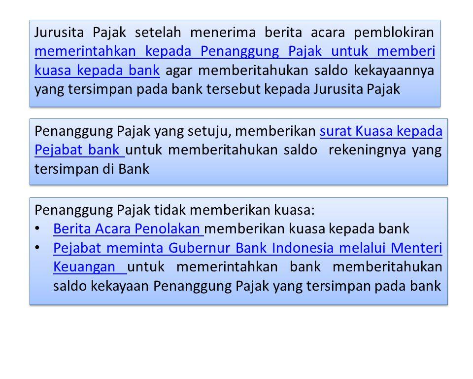 Penanggung Pajak yang setuju, memberikan surat Kuasa kepada Pejabat bank untuk memberitahukan saldo rekeningnya yang tersimpan di Banksurat Kuasa kepa