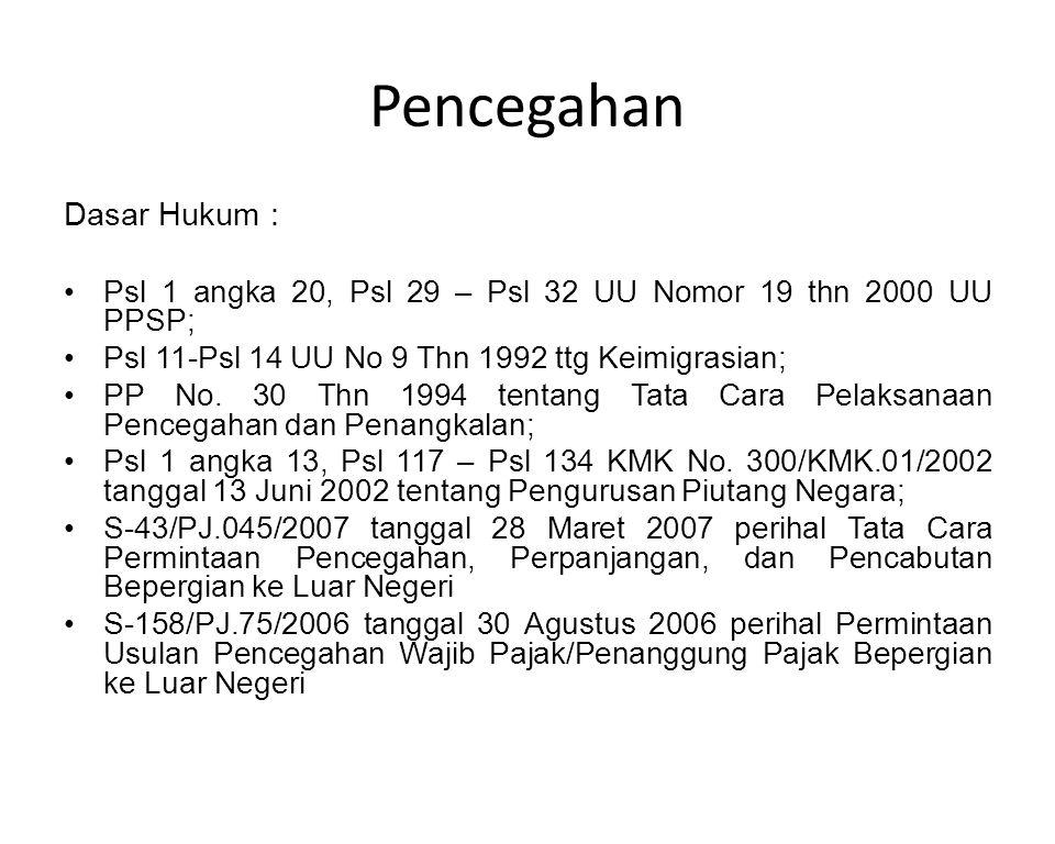 Dasar Hukum : Psl 1 angka 20, Psl 29 – Psl 32 UU Nomor 19 thn 2000 UU PPSP; Psl 11-Psl 14 UU No 9 Thn 1992 ttg Keimigrasian; PP No. 30 Thn 1994 tentan