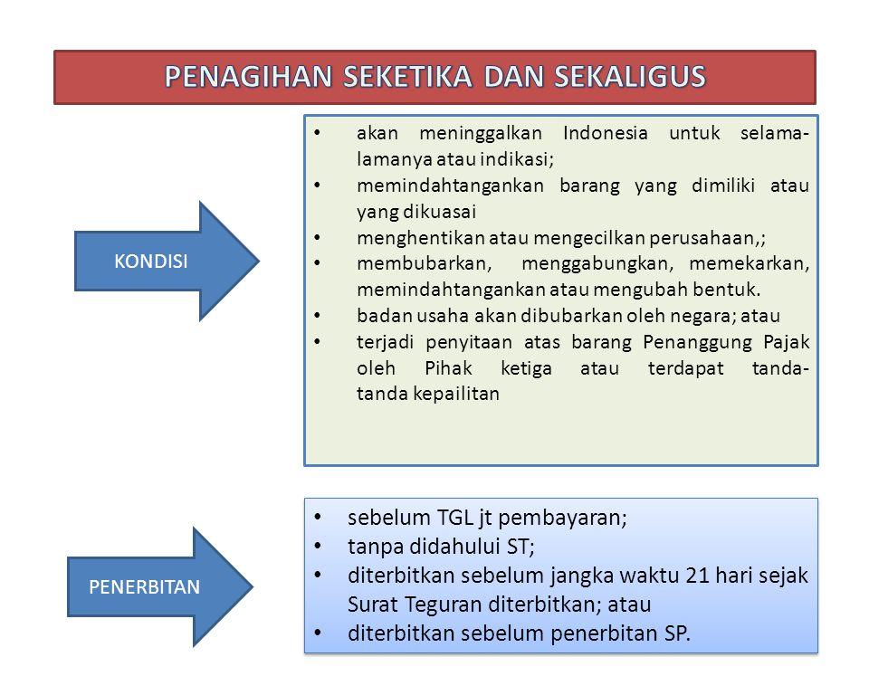 KONDISI akan meninggalkan Indonesia untuk selama- lamanya atau indikasi; memindahtangankan barang yang dimiliki atau yang dikuasai menghentikan atau m
