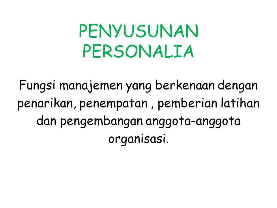 Fungsi manajemen yang berkenaan dengan penarikan, penempatan, pemberian latihan dan pengembangan anggota-anggota organisasi.