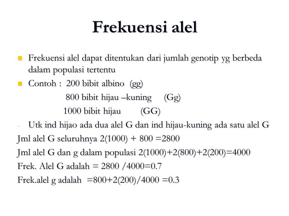 Frekuensi alel Frekuensi alel dapat ditentukan dari jumlah genotip yg berbeda dalam populasi tertentu Frekuensi alel dapat ditentukan dari jumlah geno
