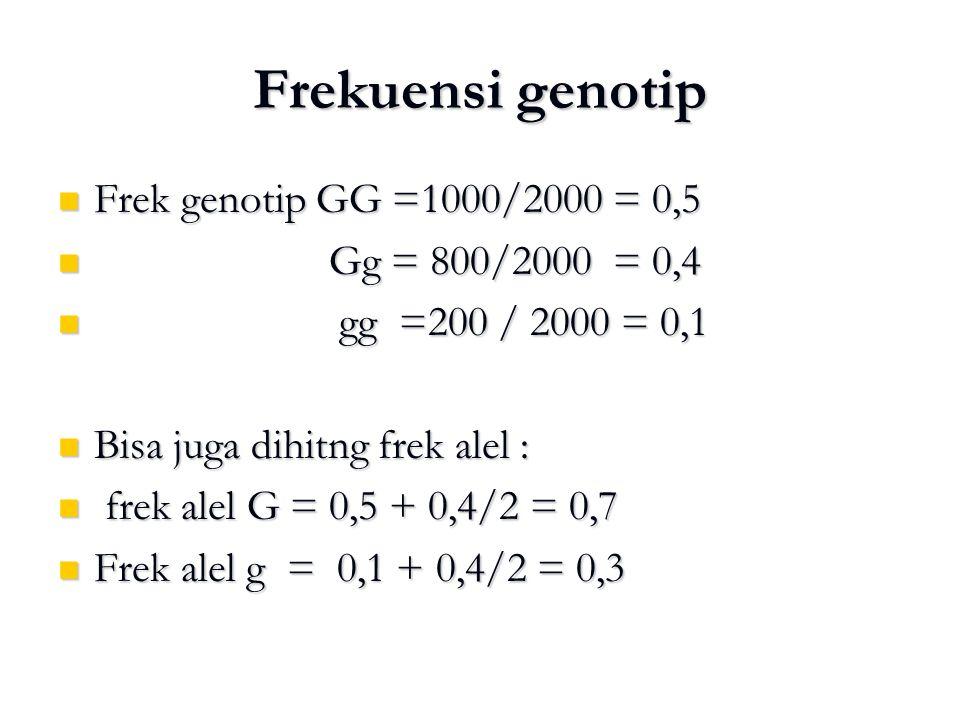 Frekuensi genotip Frek genotip GG =1000/2000 = 0,5 Frek genotip GG =1000/2000 = 0,5 Gg = 800/2000 = 0,4 Gg = 800/2000 = 0,4 gg =200 / 2000 = 0,1 gg =2