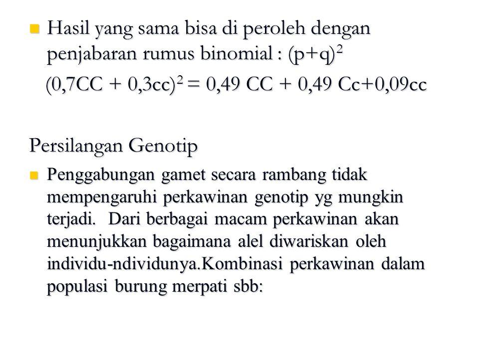 Hasil yang sama bisa di peroleh dengan penjabaran rumus binomial : (p+q) 2 Hasil yang sama bisa di peroleh dengan penjabaran rumus binomial : (p+q) 2