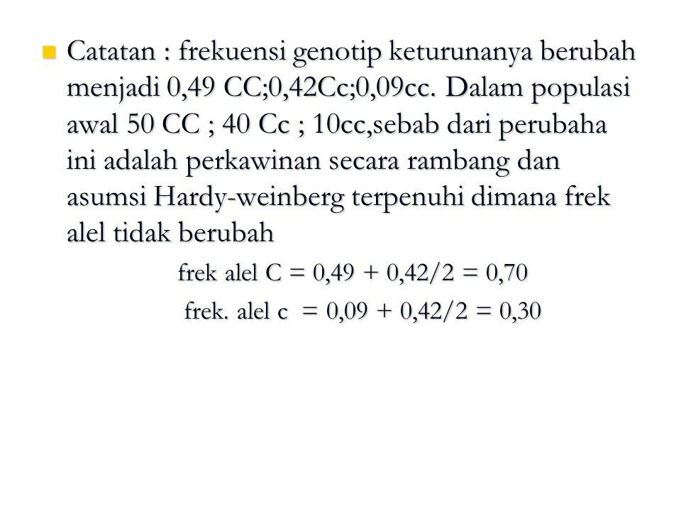 Catatan : frekuensi genotip keturunanya berubah menjadi 0,49 CC;0,42Cc;0,09cc. Dalam populasi awal 50 CC ; 40 Cc ; 10cc,sebab dari perubaha ini adalah
