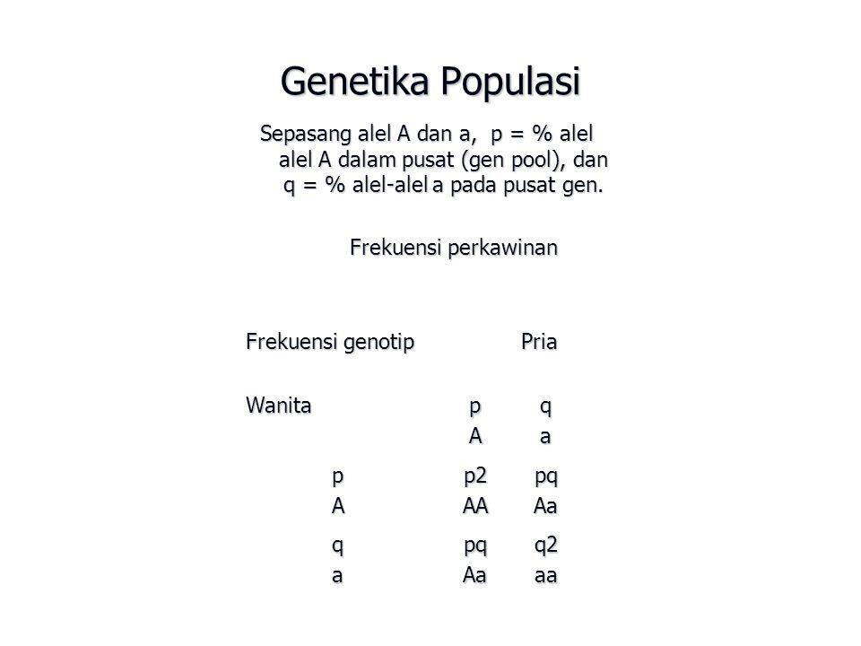 Genetika Populasi Sepasang alel A dan a, p = % alel alel A dalam pusat (gen pool), dan q = % alel-alel a pada pusat gen. Frekuensi perkawinan Frekuens