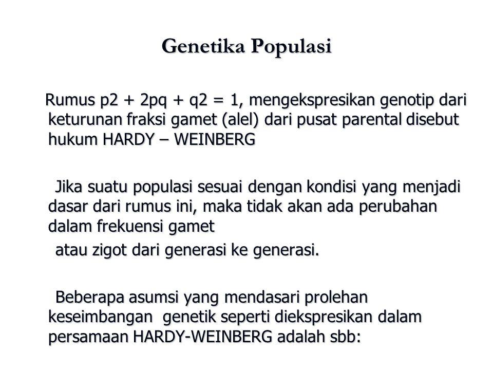 Genetika Populasi Rumus p2 + 2pq + q2 = 1, mengekspresikan genotip dari keturunan fraksi gamet (alel) dari pusat parental disebut hukum HARDY – WEINBE