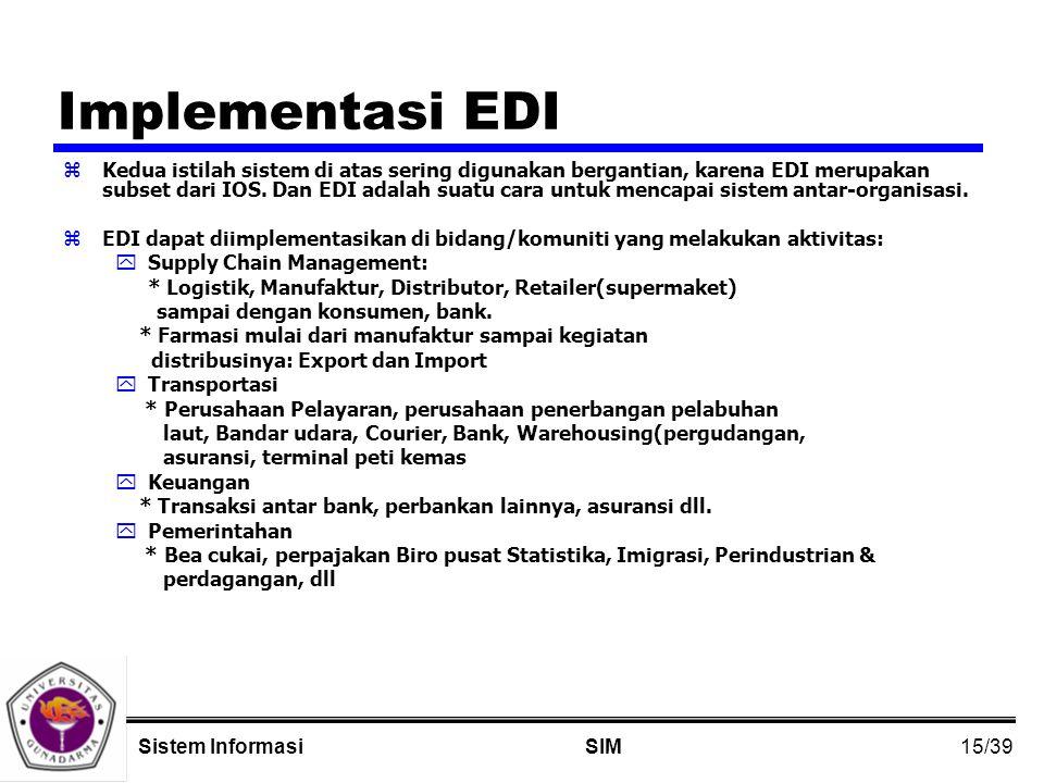 15/39 SIMSistem Informasi Implementasi EDI zKedua istilah sistem di atas sering digunakan bergantian, karena EDI merupakan subset dari IOS.