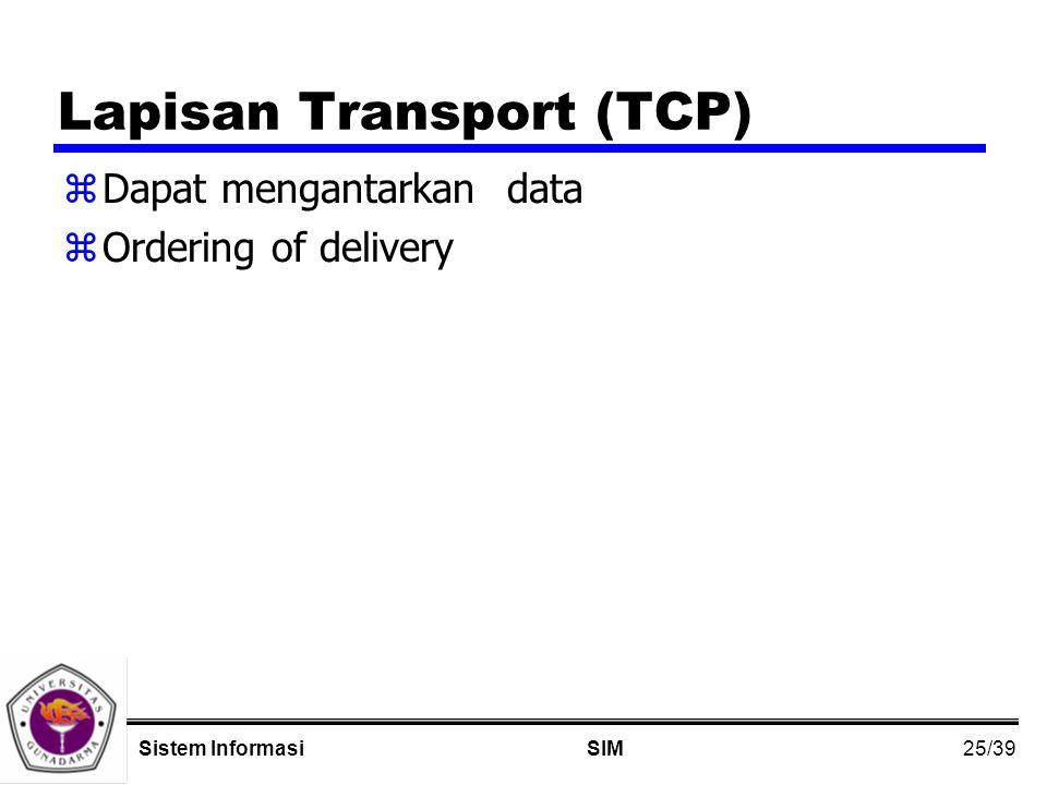 25/39 SIMSistem Informasi Lapisan Transport (TCP) zDapat mengantarkan data zOrdering of delivery