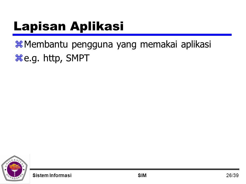 26/39 SIMSistem Informasi Lapisan Aplikasi zMembantu pengguna yang memakai aplikasi ze.g.