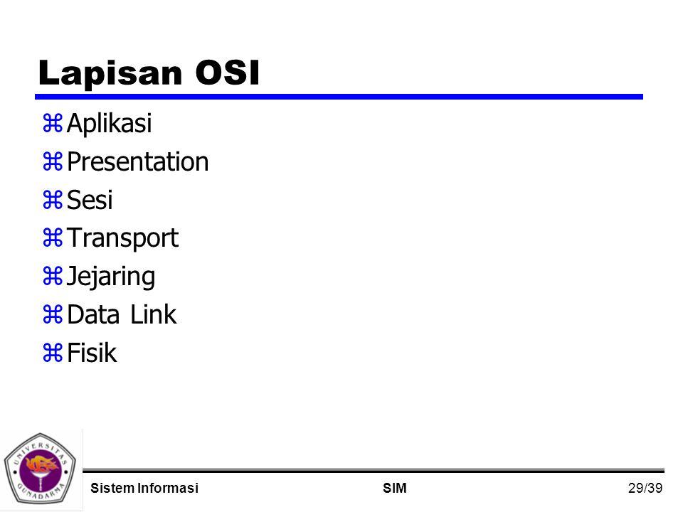 29/39 SIMSistem Informasi Lapisan OSI zAplikasi zPresentation zSesi zTransport zJejaring zData Link zFisik