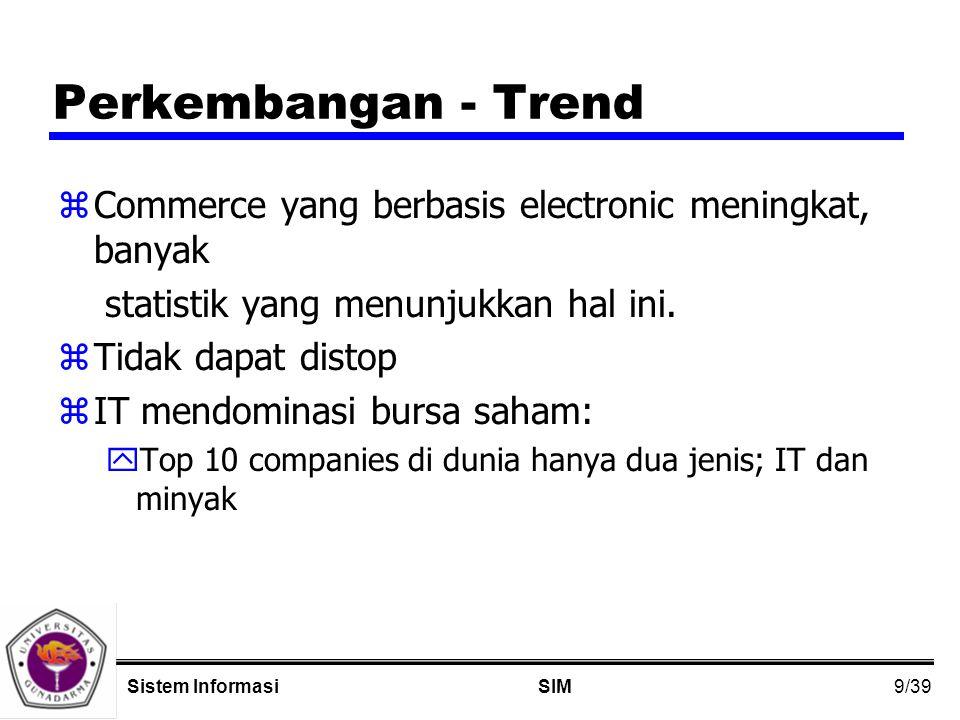 9/39 SIMSistem Informasi Perkembangan - Trend zCommerce yang berbasis electronic meningkat, banyak statistik yang menunjukkan hal ini.