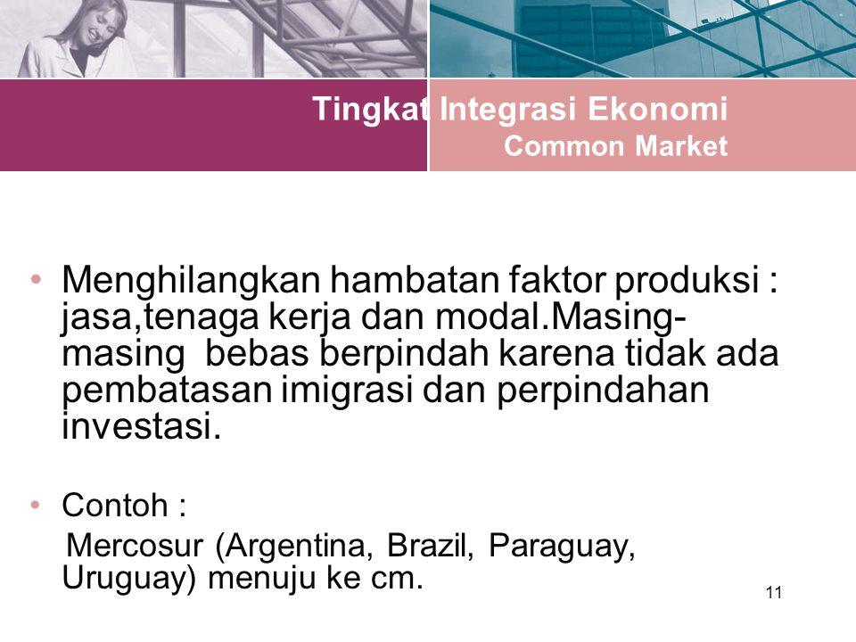 11 Tingkat Integrasi Ekonomi Common Market Menghilangkan hambatan faktor produksi : jasa,tenaga kerja dan modal.Masing- masing bebas berpindah karena tidak ada pembatasan imigrasi dan perpindahan investasi.
