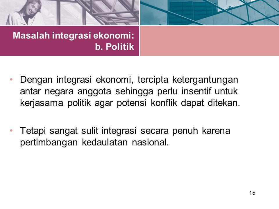 15 Masalah integrasi ekonomi: b.