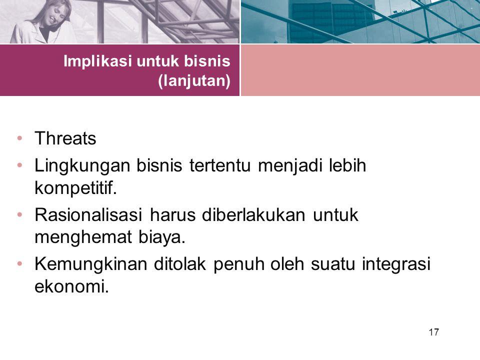 17 Implikasi untuk bisnis (lanjutan) Threats Lingkungan bisnis tertentu menjadi lebih kompetitif.