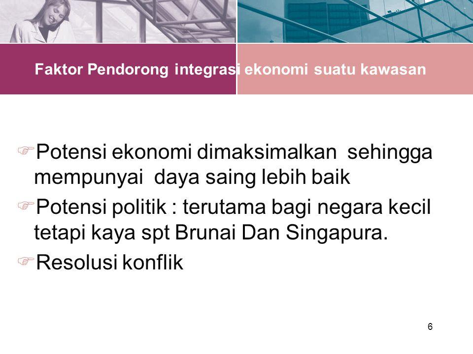 6 Faktor Pendorong integrasi ekonomi suatu kawasan  Potensi ekonomi dimaksimalkan sehingga mempunyai daya saing lebih baik  Potensi politik : terutama bagi negara kecil tetapi kaya spt Brunai Dan Singapura.