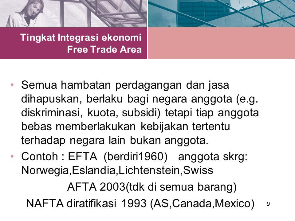9 Tingkat Integrasi ekonomi Free Trade Area Semua hambatan perdagangan dan jasa dihapuskan, berlaku bagi negara anggota (e.g.