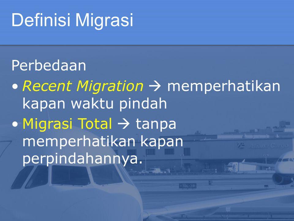 Definisi Migrasi Perbedaan Recent Migration  memperhatikan kapan waktu pindah Migrasi Total  tanpa memperhatikan kapan perpindahannya.