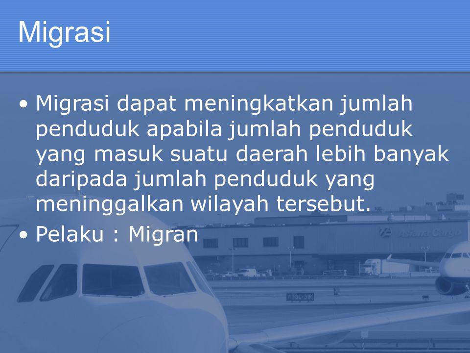 Definisi Migrasi #11 Jenis : Transmigrasi Umum  diselenggarakan oleh pemerintah Transmigrasi Spontan/Swakarsa  merupakan inisiatif mandiri dari masyarakat, namun tetap diatur oleh pemerintah