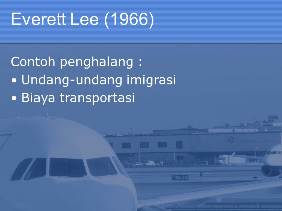 Everett Lee (1966) Contoh penghalang : Undang-undang imigrasi Biaya transportasi
