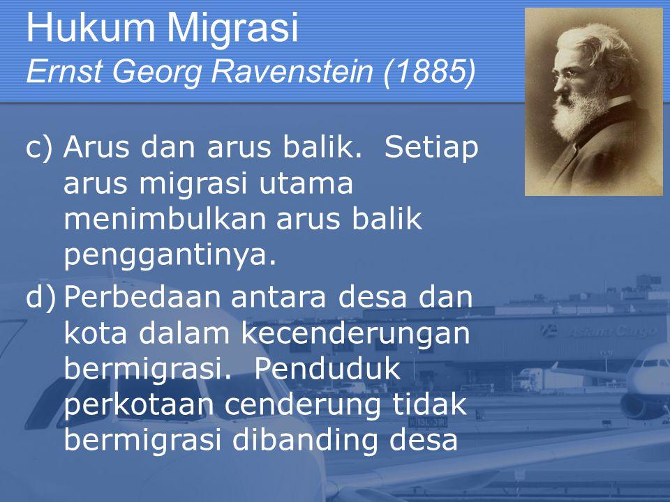 Hukum Migrasi Ernst Georg Ravenstein (1885) c)Arus dan arus balik. Setiap arus migrasi utama menimbulkan arus balik penggantinya. d)Perbedaan antara d