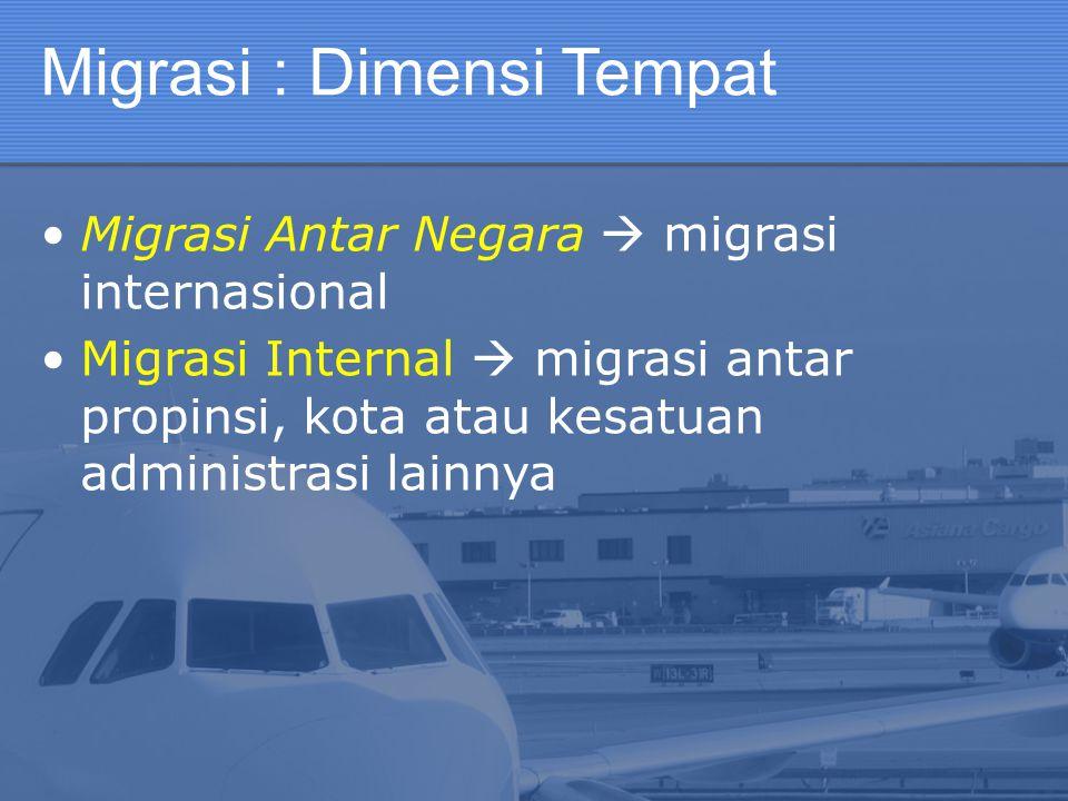 Migrasi : Dimensi Tempat Migrasi Antar Negara  migrasi internasional Migrasi Internal  migrasi antar propinsi, kota atau kesatuan administrasi lainn