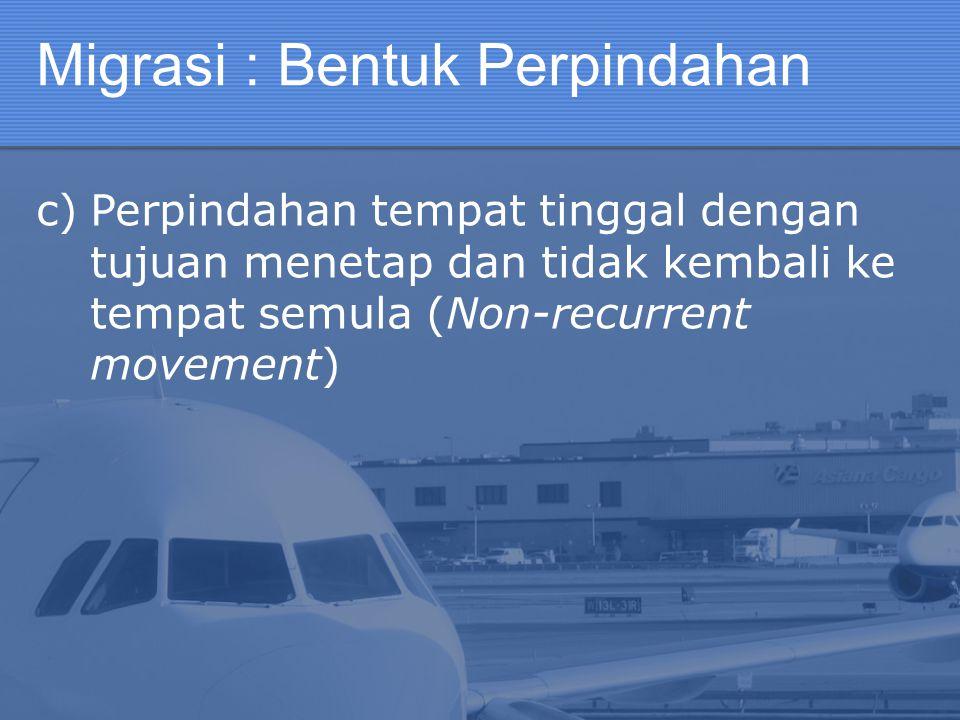 Migrasi : Bentuk Perpindahan c)Perpindahan tempat tinggal dengan tujuan menetap dan tidak kembali ke tempat semula (Non-recurrent movement)
