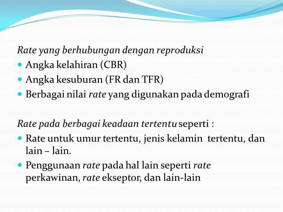 Rate yang berhubungan dengan reproduksi Angka kelahiran (CBR) Angka kesuburan (FR dan TFR) Berbagai nilai rate yang digunakan pada demografi Rate pada berbagai keadaan tertentu seperti : Rate untuk umur tertentu, jenis kelamin tertentu, dan lain – lain.