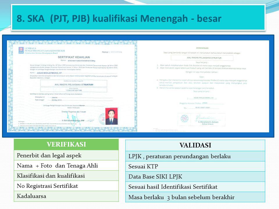 8. SKA (PJT, PJB) kualifikasi Menengah - besar VERIFIKASI Penerbit dan legal aspek Nama + Foto dan Tenaga Ahli Klasifikasi dan kualifikasi No Registra